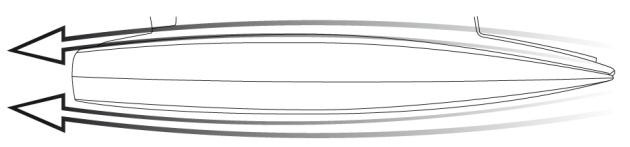 Straight hull shape similar to those on racing multihulls