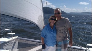 Gordon and Lou Coates sailing