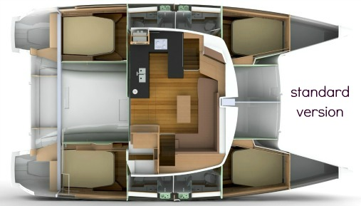Standard version: 4 double / 4 bathrooms - Each of the four cabins aboard the Hélia enjoys its own private bathroom with separate shower.