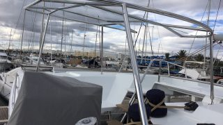 Bimini tent gone, winches covered