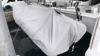 Dinghy covered and stowed