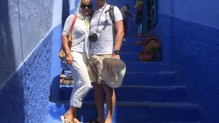 Connan and Lauren in Chefchaouen, Morocco'blue city, resetting the VAT 18-month clock