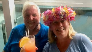 Denis and I enjoying cocktails at Retro Bar in Papeete