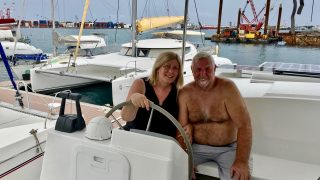 Denis and I on our first day aboard Sempre Due