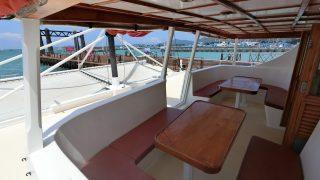 wood outside area in catamaran